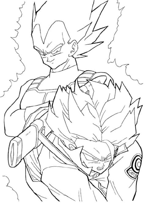 dragon ball z trunks coloring pages vegeta and trunks coloring page coloring pages