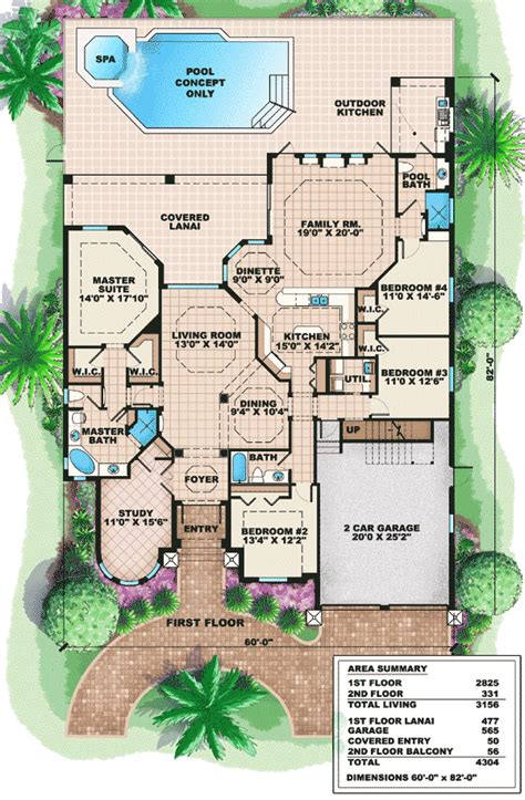 Mediterranean Style Floor Plans Mediterranean House Plan With Bonus Space 66236we 1st