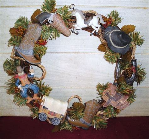 cowboy christmas western wreath home decor