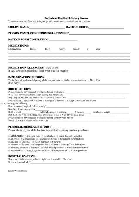 Pediatric Medical History Form Printable Pdf Download Elective C Section Birth Plan Template