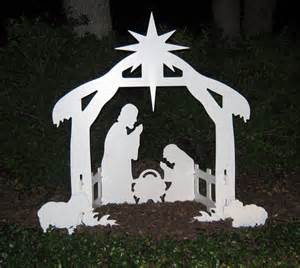 lighted outdoor decorations sale lifetime outdoor nativity marine grade white pvc silhouette