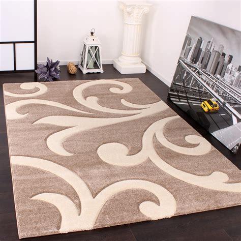 tappeti beige designer teppich mit konturenschnitt modern beige creme