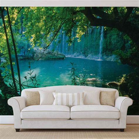 the wall mural wall mural photo wallpaper tropical waterfall lagoon
