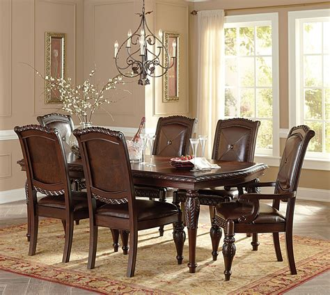 warm brown formal dining room sets for 8 with glass door antoinette warm brown extendable rectangular dining room