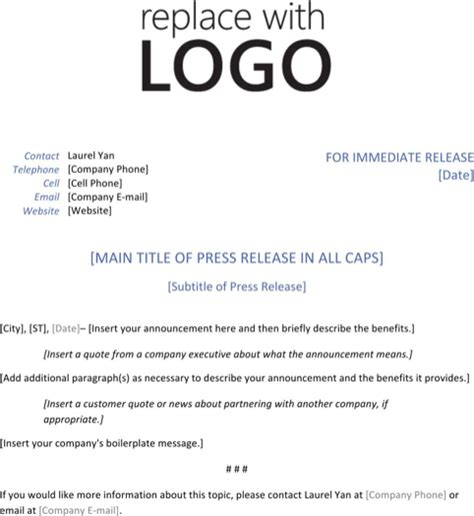 download press release template for free formtemplate
