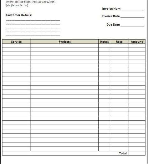 service invoice template free blank service invoice template free invoice