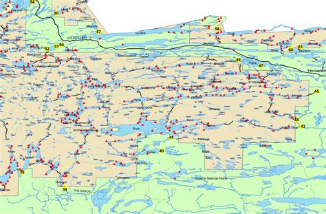 boundary waters map boundary waters routes bwca bwcaw quetico park