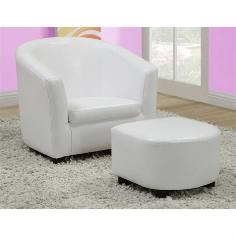 white faux leather chair with ottoman chair and ottoman set in white faux leather i 8104