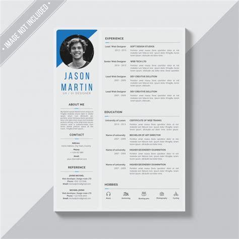 resume psd template rar grey cv template with blue details psd file free