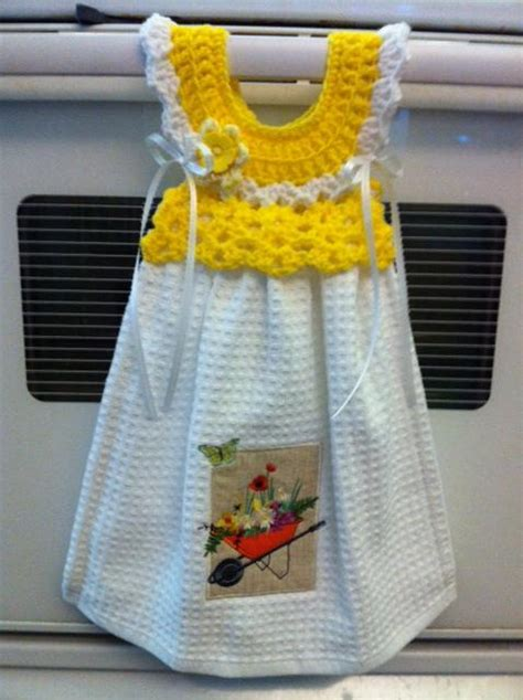 crochet pattern kitchen towel topper oven handle dress towel topper by brendacreated craftsy