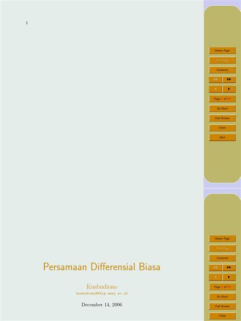 Persamaan Diferensial Biasa persamaan differensial biasa