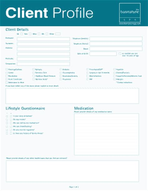 client profile template spa profile of client fill printable fillable