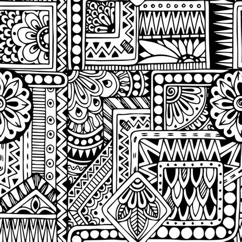tribal pattern doodles seamless floral doodle black and white background stock