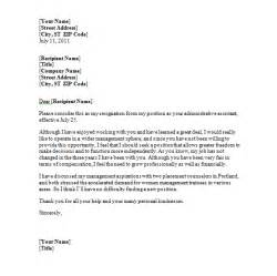 Format For Writing A Resignation Letter by Sle Resignation Letter Sle Format