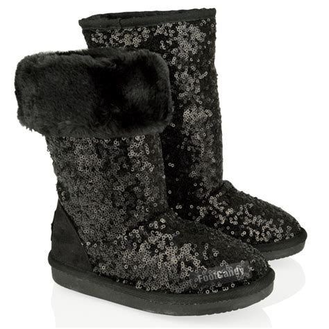 Boots E Glitter Putih New mid calf glitter sequin fur slip on flat boots