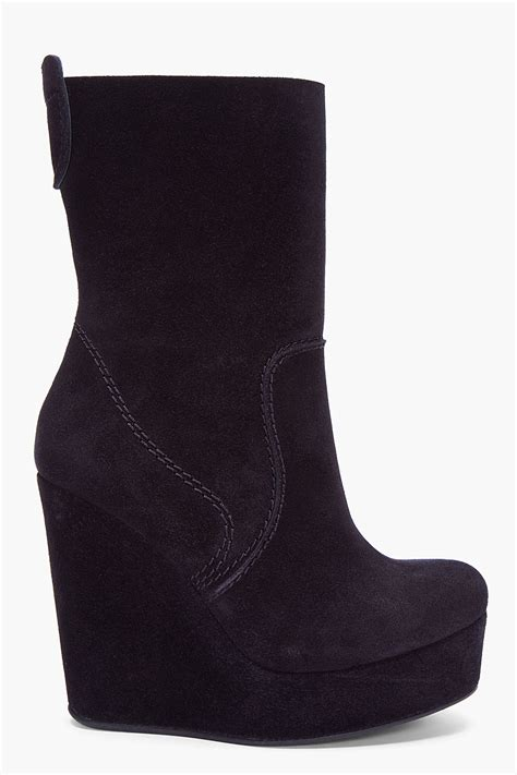 pedro garcia black suede haily wedge boots in black lyst