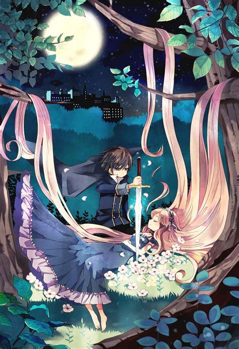 anime princess anime princess long hair dress woods anime couple
