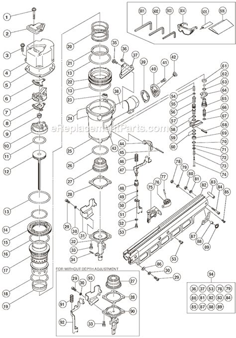 hitachi nail gun parts diagram hitachi nr83a2 s parts list and diagram