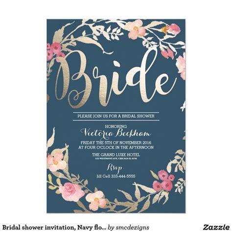 bridal shower wording for invitations exles bridal shower invitation navy floral foil card