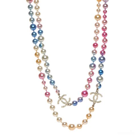 chanel beaded necklace chanel beaded pearl cc strand necklace gold