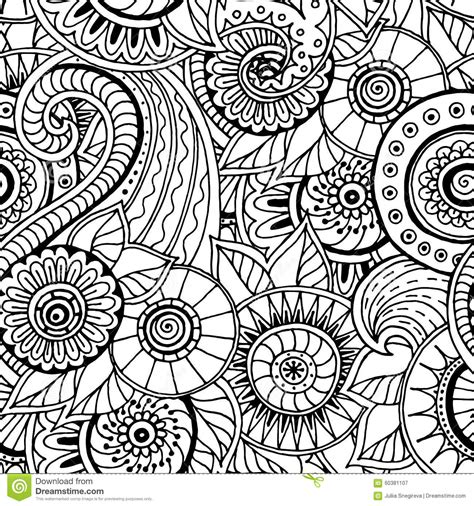 tribal pattern doodles seamless floral retro doodle black and white pattern in