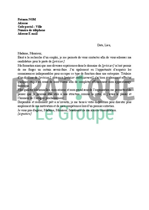 Exemple De Lettre De Motivation Pour Un Emploi De Boulanger application letter sle exemple de lettre de motivation