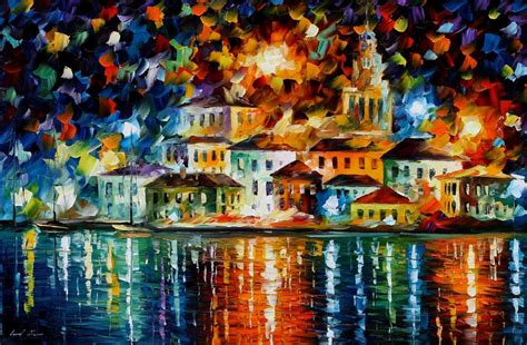 popular artwork night harbour palette knife oil painting on canvas by