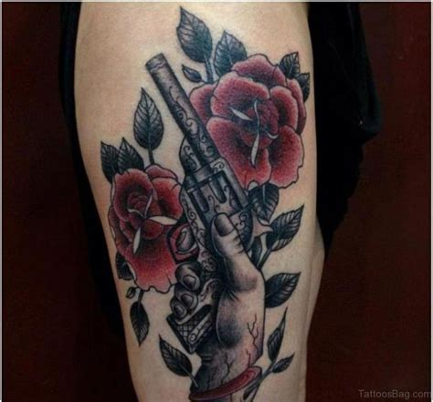 tattoo flower gun 72 brilliant gun tattoos design on thigh