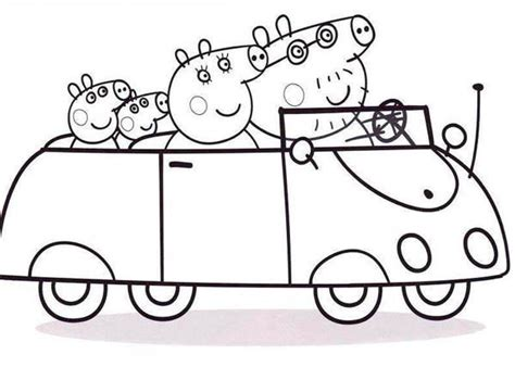 Santa Claus House by Peppa Pig Family Going To Town With Car Coloring Page
