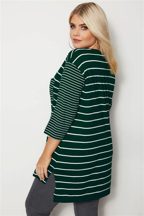 Contrast Pocket Shirt green contrast stripe pocket t shirt plus size 16 to 36