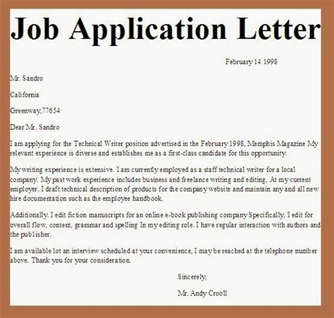 letter of application university sample