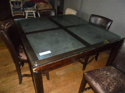 large kitchen table w slate inserts glass 4 chairs