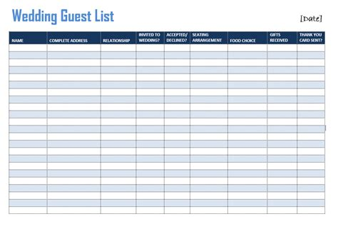 wedding list templates wedding guest list template format exle