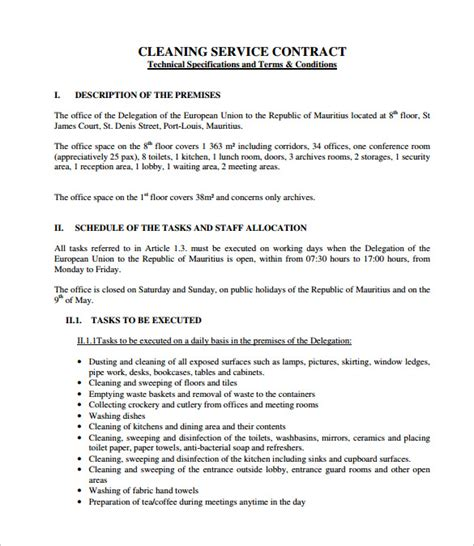 Housekeeping Contract Template cleaning contract template 9 documents in pdf