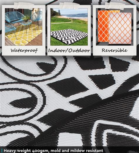 Recycled Outdoor Rug Outdoor Plastic Rug Mat Recycled Polypropylene Patio 200cm Black Mandala Ebay