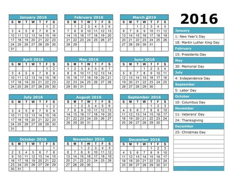 printable staff holiday planner 2016 employee attendance calendar tracker templates 2016