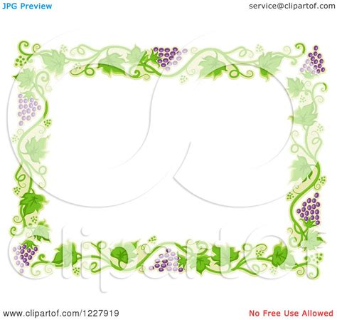 Border Clipart 1227919 Illustration By by Clipart Of A Border Of Grape Vines Around White Text Space