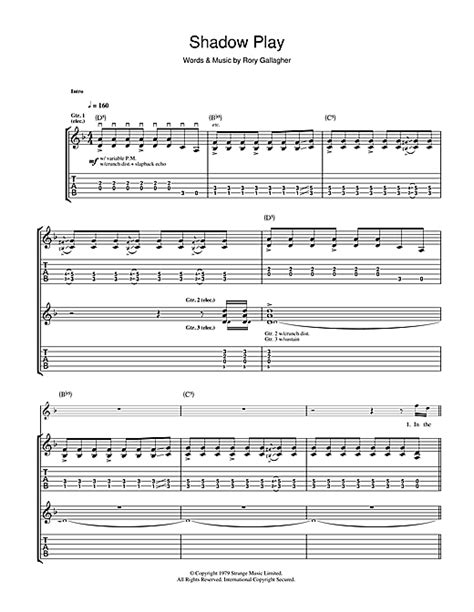 tattoo lady rory gallagher chords rory gallagher shadow play sheet music