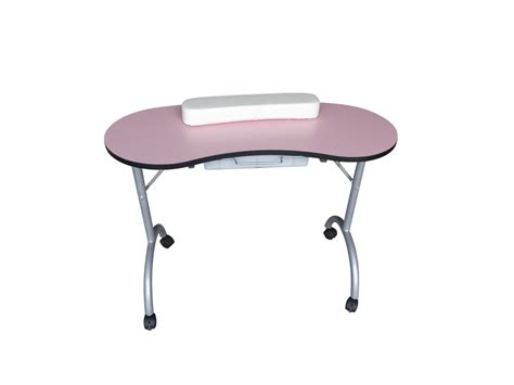 pink portable mobile manicure table nail bartechnicians