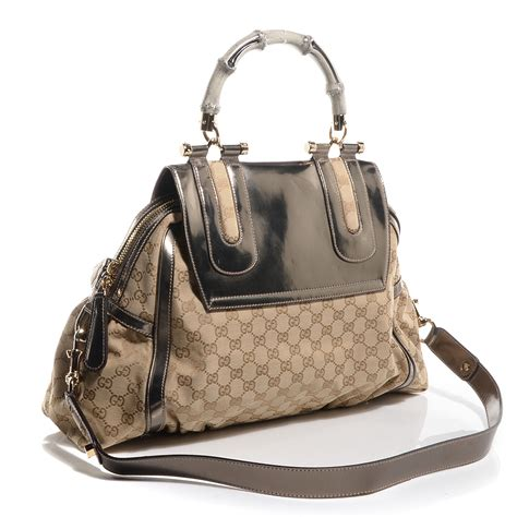 Gucci Pop Bamboo Top Handle Bag by Gucci Monogram Pop Bamboo Large Top Handle Tote 74726