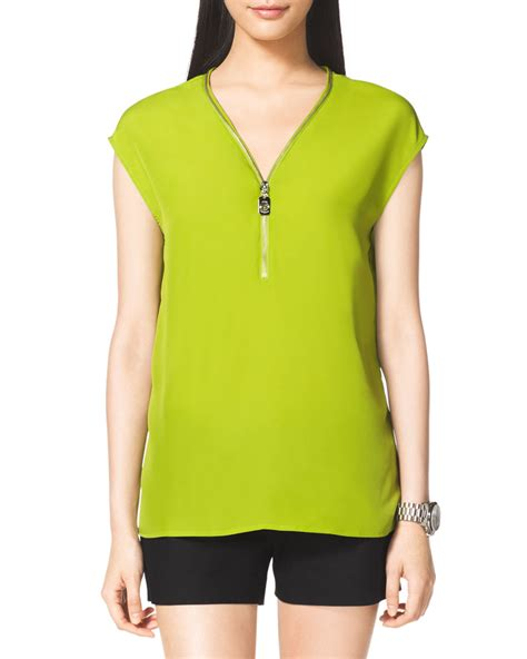 michael michael kors ziptrim blouse in green fresh lime