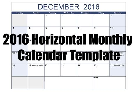numbers 2016 horizontal monthly calendar template free