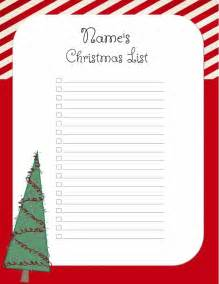 free christmas list template