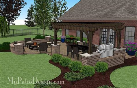 My Patio Design Traditional Patio Design With Seating Wall And Pergola