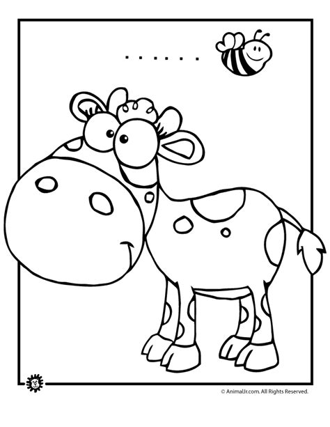 cute cow and bumblebee coloring page animal jr