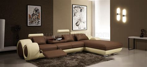 Jual Sofa Leter L Warna Coklat 4085 sectional sofa by vig in brown bonded leather