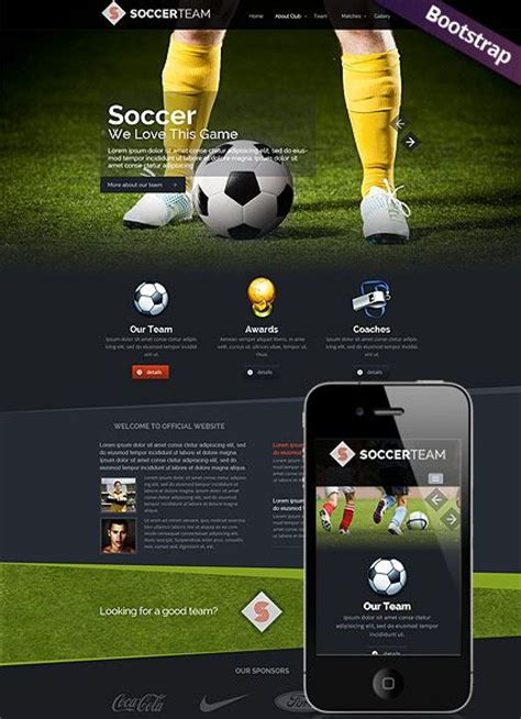 templates for football website soccer club website template web design pinterest