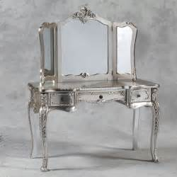 black vanity dressing table and triple mirror in antique silver