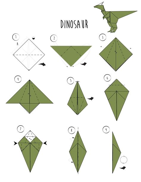 Origami Easy Dinosaur - how to make an origami dinosaur 3 ways wikihow via
