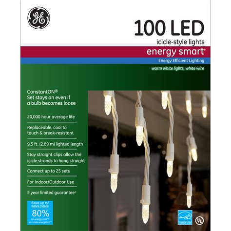 100 light led warm white icicle light set general electric mini icicle led light set with 100 warm